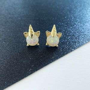 Iridescent Unicorn Stud Earrings